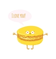 Postcard with cute macaroon I love you vector image vector image