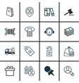 Set of 16 commerce icons includes gavel outgoing vector image