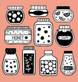 set of doodle jars on pink vector image vector image