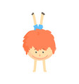 smiling cartoon redhead boy standing upside down vector image vector image