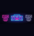 tape recorder neon signboard retro music vector image vector image
