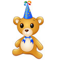 teddy bear cartoon celebrating birthday vector image vector image