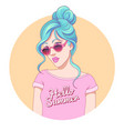 teenage girl sunglasses vector image