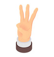 three fingers sign icon isometric style vector image