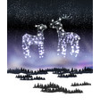 two reindeer from lamp and wire on the winter vector image vector image