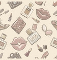 vintage fashion female seamless pattern vector image vector image