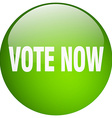 vote now green round gel isolated push button vector image vector image