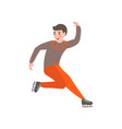 young cute boy skates in beautiful warm clothes vector image vector image