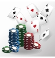 Cards of Poker and chips design vector image