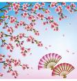 Decorative background with sakura japanese cherry vector image