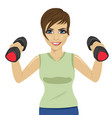 young woman doing exercises with dumbbells vector image