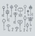 antique keys set hand drawn medieval vector image
