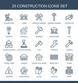 25 construction icons vector image vector image