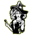 a witch on dark background vector image