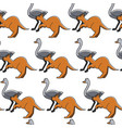 australian animals seamless pattern ostrich and vector image vector image
