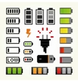 Battery pack isolated objects set in pixel art vector image vector image