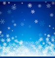 blue christmas snowflakes background falling vector image vector image