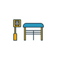 bus stop outline icon thin style design from city vector image vector image