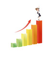 business woman growing increase a graph success vector image