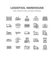 cargo transportation flat line icons trucking vector image vector image