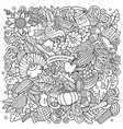 cartoon doodles happy thanksgiving day vector image vector image
