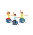 cartoon women characters doing exercise with vector image vector image