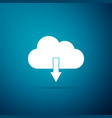 cloud download icon isolated on blue background vector image vector image