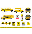 collection of school bus and signage vector image