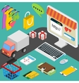 concept of online shop in flat design vector image vector image