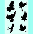 cute birds silhouette vector image vector image