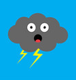 cute cartoon kawaii dark cloud with thunderbolt vector image