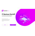 financial business isometrics banner purple vector image vector image