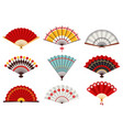 hand paper fans asian traditional folding vector image