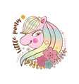 happy little pink pony with stars smiling vector image vector image