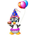 happy penguin cartoon holding birthday cake and ba vector image vector image