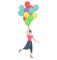 happy pretty girl with balloons in her hands vector image vector image