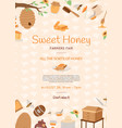 honey farming poster cartoon honeycomb bee pod vector image
