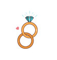 Isolated cartoon diamond wedding ring vector image