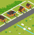isometric houses on suburb street vector image
