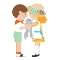 Kids and Kitten vector image