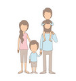 light color caricature faceless family parents vector image vector image