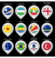 Map marker with flag-set eleventh vector image vector image