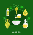 olive oil flat composition vector image