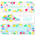 pharmacy banner with colored pills medicinal help vector image