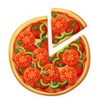 pizza top view tomato green sweet pepper salami vector image