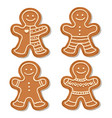 realistic gigngerbread men collection vector image