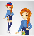 red-haired girl in denim skirt vector image