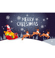 santa driving sleigh christmas holiday night card vector image
