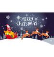 santa driving sleigh christmas holiday night card vector image vector image