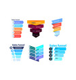 set divercity sales funnel with steps stages vector image